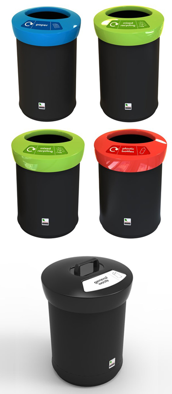 open round recycling bins