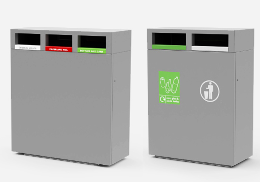 Steel Recycling 1,2,3 Way Bins