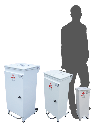 front access pedal bin range showing sizes